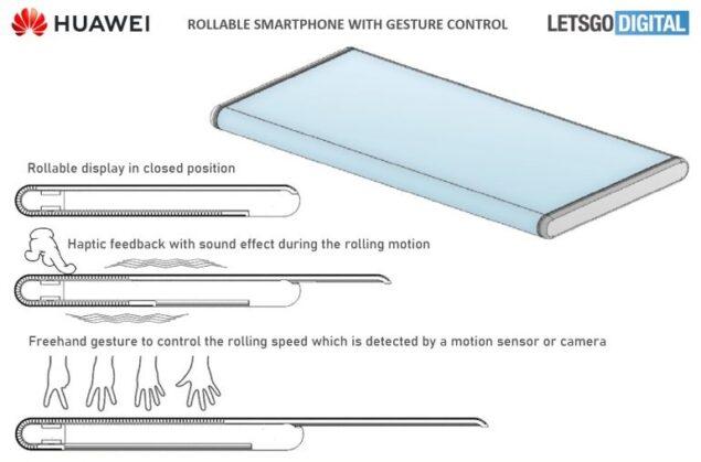 huawei smartphone arrotolabile brevetto gesture