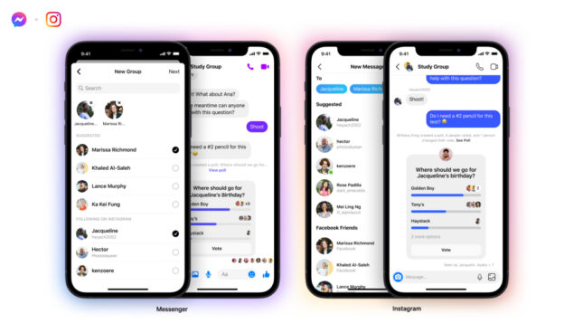 instagram facebook messenger chat gruppo novità