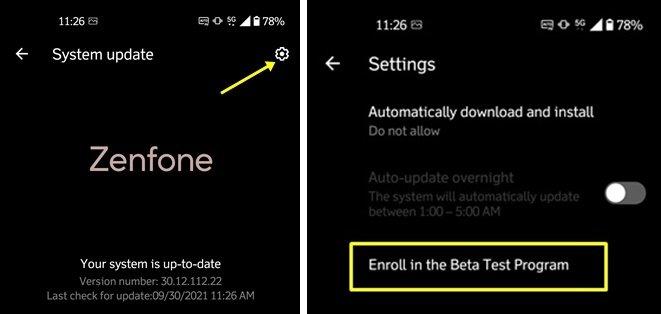 asus zenfone 8 android 12 beta zenui 8 iscrizione