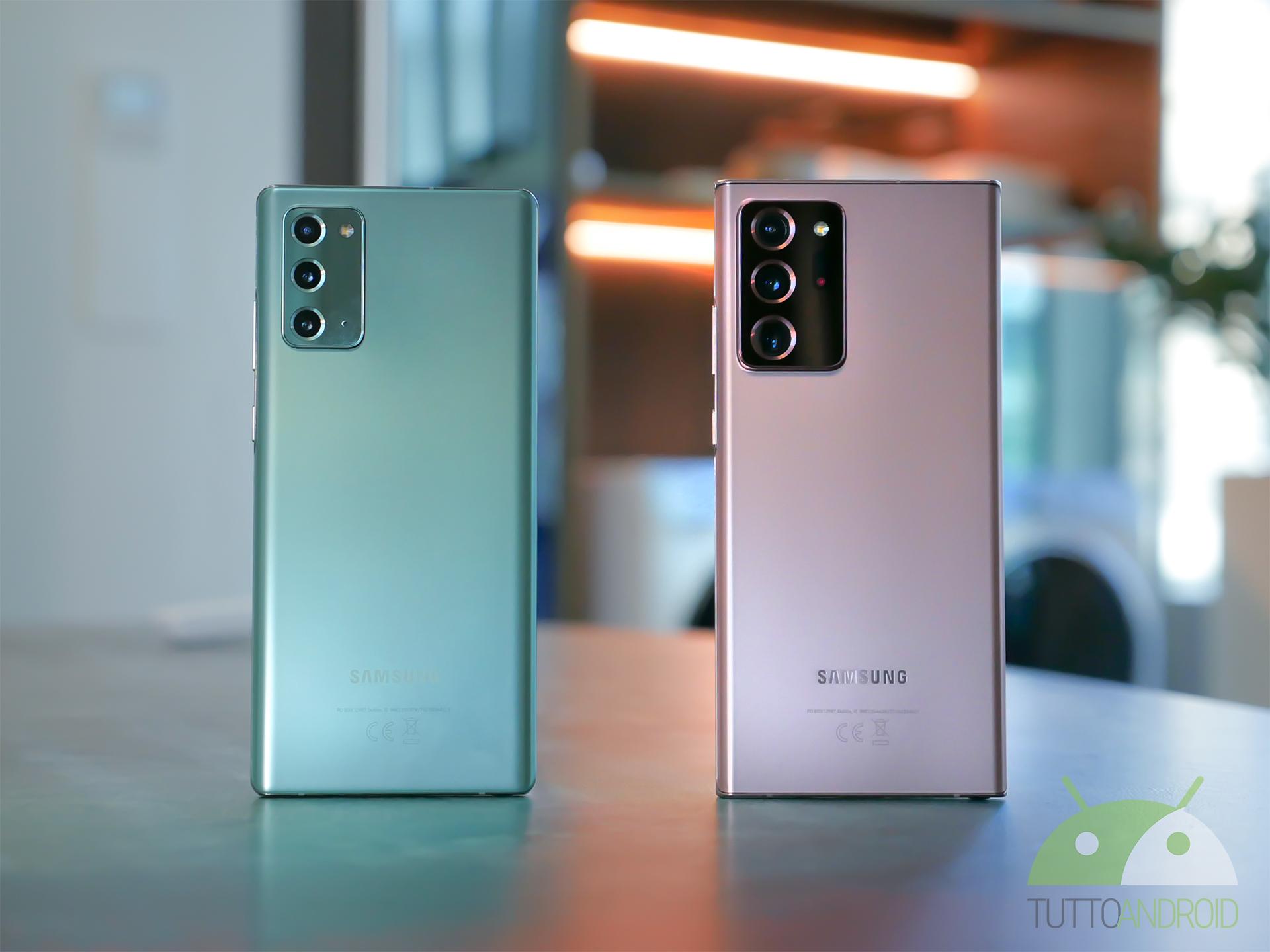 Samsung Galaxy Note 20 e Note 20 Ultra sono realizzati con materiali diversi